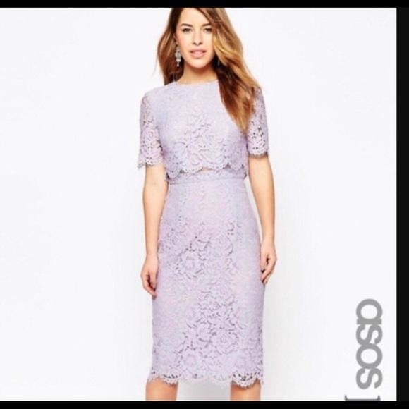 4c8c5c5d81018 ASOS lilac lace crop top midi pencil dress